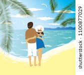 vector couple in love by the sea | Shutterstock .eps vector #1100877029