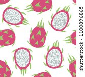 sweet whole dragon fruit and... | Shutterstock .eps vector #1100896865