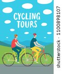 cycling tours poster. old man... | Shutterstock .eps vector #1100898107