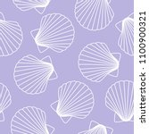 white seashells on a purple... | Shutterstock .eps vector #1100900321