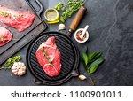 fresh raw meat. beef tenderloin ... | Shutterstock . vector #1100901011