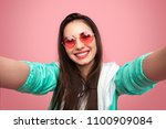 colorful bright woman in... | Shutterstock . vector #1100909084
