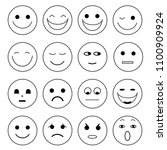 set of minimal smiley faces... | Shutterstock .eps vector #1100909924