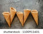 five empty crusty waffle ice...   Shutterstock . vector #1100911601