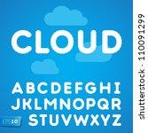 clouds alphabet on a blue sky... | Shutterstock .eps vector #110091299