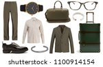 collage of clothes on white...   Shutterstock . vector #1100914154
