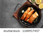 dish with tasty cooked salmon... | Shutterstock . vector #1100917457