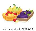 cartoon fruits and vegetables...   Shutterstock .eps vector #1100923427