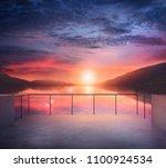 Balcony View Lake Mountains Landscape - Fine Art prints