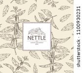 background with nettle  plant ... | Shutterstock .eps vector #1100930231