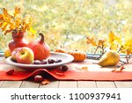 autumn still life with pumpkins ... | Shutterstock . vector #1100937941