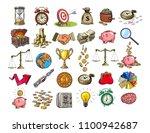 big business set. sketch of... | Shutterstock .eps vector #1100942687