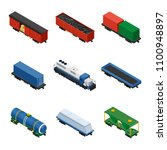 trains isometric set of freight ... | Shutterstock . vector #1100948897