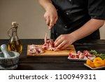 the chef prepares raw quail... | Shutterstock . vector #1100949311