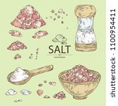 collection of salt  spoon with... | Shutterstock .eps vector #1100954411