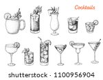 alcoholic cocktails hand drawn... | Shutterstock .eps vector #1100956904