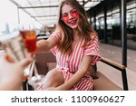 glamorous caucasian girl... | Shutterstock . vector #1100960627