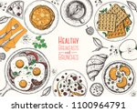 breakfasts top view frame.... | Shutterstock .eps vector #1100964791