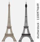 eiffel tower black silhouette   Shutterstock .eps vector #1100974649