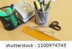 school and office supplies | Shutterstock . vector #1100974745