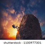 Businessman Climb A Mountain Get - Fine Art prints