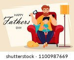 happy fathers day greeting card.... | Shutterstock .eps vector #1100987669
