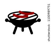 vector bbq grill illustration   ... | Shutterstock .eps vector #1100989751