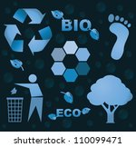 eps10 bio eco icon symbols - silhouette illustration - stock vector