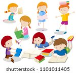 a set of kids reading book...   Shutterstock .eps vector #1101011405