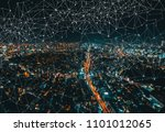 links with aerial view of tokyo ... | Shutterstock . vector #1101012065