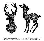 silhouette of deer and little... | Shutterstock .eps vector #1101013019