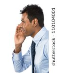 Indian Business man shouting his message. Isolated against a white background. - stock photo