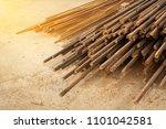 rusty steel bar or steel... | Shutterstock . vector #1101042581