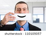 portrait of a funny smiling... | Shutterstock . vector #110105057