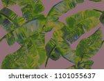 banana leaf tropical seamless... | Shutterstock . vector #1101055637