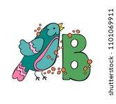 english letter b. bird.... | Shutterstock .eps vector #1101069911