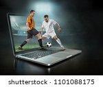 caucassian soccer players in... | Shutterstock . vector #1101088175