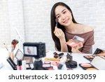 young beautiful asian woman... | Shutterstock . vector #1101093059