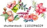 pink bouquet wildflower. floral ... | Shutterstock . vector #1101096029