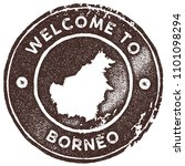 borneo map vintage brown stamp. ... | Shutterstock .eps vector #1101098294