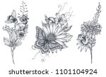 set of three vector floral... | Shutterstock .eps vector #1101104924