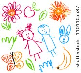 children's drawings. elements... | Shutterstock .eps vector #1101105587