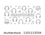 headphones vector horizontal... | Shutterstock .eps vector #1101113534
