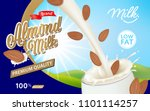pouring milk and almond into... | Shutterstock .eps vector #1101114257