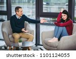 couple arguing with each other  ... | Shutterstock . vector #1101124055