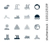 pool icon. collection of 16... | Shutterstock .eps vector #1101125159