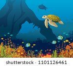 yellow turtle and coral reef... | Shutterstock .eps vector #1101126461
