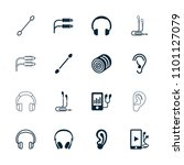 ear icon. collection of 16 ear... | Shutterstock .eps vector #1101127079