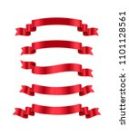 Red Ribbons Set. Vector Design...