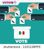 ballot box person casting vote  ... | Shutterstock .eps vector #1101138995